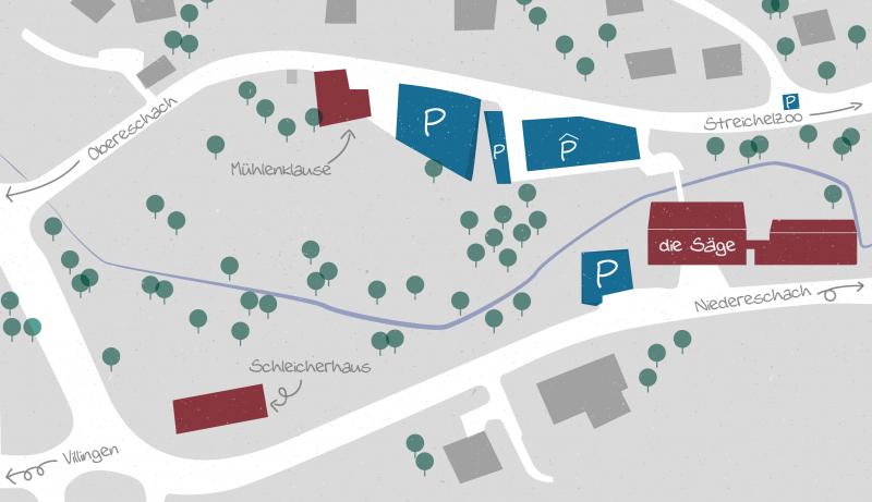 Übersicht Areal die Säge mit Parkmöglichkeiten